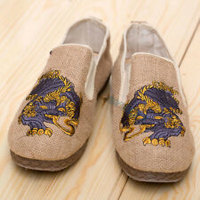 Vintage Mens Embroidered Casual Breathable Linen Platform Oxford Sole Flat Shoes