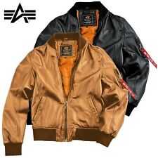 Alpha Industries Men's Leather Jacket Ma-1 Light Weight Leather Jacket LUXURY