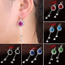 Women Dangle Rose Flower Crystal Rhinestone Stud Earrings Wedding Jewelry + Box