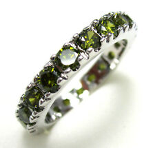 Women's Nice Jewelry Lovely 10KT White Gold Filled Peridot Ring Size:7 8 9