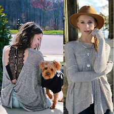 Fashion Women Sexy Backless Long Sleeve Blouse Casual Vest Tops Loose T-Shirt