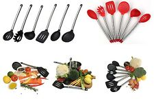 6pcs Stainless Steel with Silicone Cooking Kitchen Utensils Set  spoon spatula K