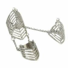 Rhinestone Finger Joint Chain Ring Hollow Out Knuckle Rings