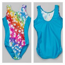 NEW Sparkle Rainbow Stardust Foil Solid Back Dance Gymnastics Leotard Child Size