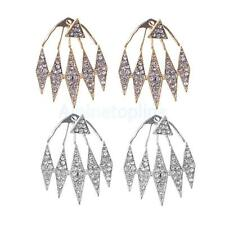 Fashion Women Crystal Triangle Exaggerated Hanging Ear Stud Earrings Elegant