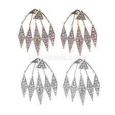 Cool Women Lady Vintage Crystal Triangle Exaggerated Hanging Ear Stud Earrings
