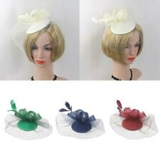 Women Lady Flower Feather Fascinator Cocktail Headband Clip Wedding Party