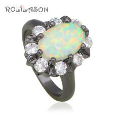 OR799 Amazing Rings Black Gold Plated White Fire Opal Fashion Jewelry