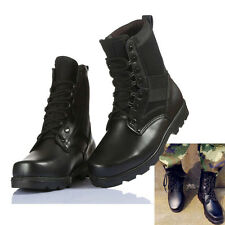 Black Mens Womens Leather Outdoor Climbing Desert Military Tactical Combat Boots
