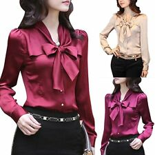 Charming OL Womens  Long Sleeve  Casual Imitated Silk  Shirt Tops Blouse T-Shirt