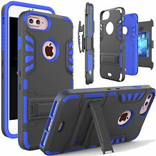 For Apple iPhone 7 6 6s Plus Hard Armor Stand Case+Belt Clip Holster+Card Cover
