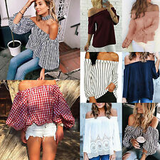 Boho Women Off The Shoulder Shirts Ladies Long Sleeve Loose Blouse Tops Pullover