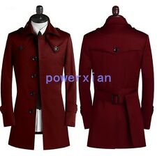 Mens British Outwear Buttons Coats Long Jackets Casual Trench Peacoat US S-9XL
