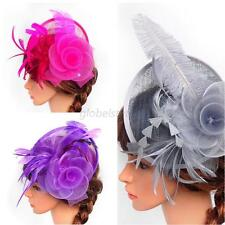 Chic Women Flower Feather Fascinator Hat Clip Hair Wedding Party Cocktail Clip