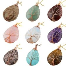 Pendant Tree Of Life Teardrop Copper Wire Wrap Drop Fit Necklaces Agate/Amethyst
