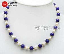 SALE 6-7mm White Natural FW Pearl & 8mm Round Blue Jade 17'' Necklace -nec6047