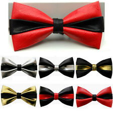 Men Upscale Double Color Leather Bowtie Unique Design Party Bow Ties New Arrival
