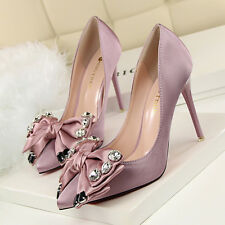 Satin Crystal Bowknot Pointed Toe Pumps Women Slim High Heels Stilettos OL Shoes