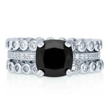 BERRICLE 925 Silver Cushion Black Cubic Zirconia CZ Solitaire Bubble Ring Set