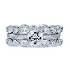 BERRICLE Sterling Silver Princess CZ Solitaire Engagement Ring Set 2.95 Carat