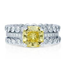 BERRICLE Silver Cushion Canary Yellow CZ Solitaire Engagement Ring Set 2.9 Carat