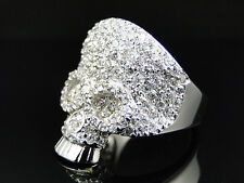 Premium Mens White Gold Finish Stainless Steel White Lab Diamond Skull Head Ring