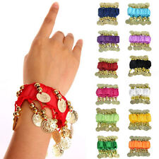 New Belly Dance Wrist Ankle Cuff Arm Bracelet Dancing Gold Coins USA