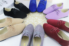 Sexy Women's Multi-color Fashion Shoes Solid Suede Ballet Flats Casual Lace up