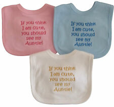 Think I Am Cute See My Auntie Baby Bib Boy Girl Babies Clothes Cute Funny Gift