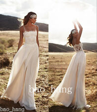 Simple Wedding Dress White Ivory Beach A Line Bridal Gown Spaghetti Strap Custom
