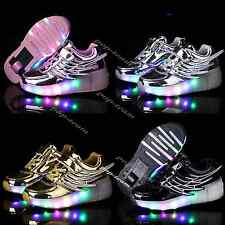 Kid Boys Girls LED Light Up Wheel Shoes Retractable Roller Skate Sneakers Shoes