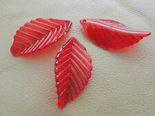 35mm 15/30pcs CLEAR DARK RED ACRYLIC PLASTIC LEAF BEADS CHARMS CM4630