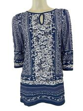 Marks & Spencer Blue Ditsy Print Long Line Stretchy Top Orig Price £28