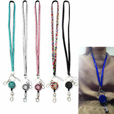 Crystal Rhinestone Bling Neck Lanyard Retractable ID Badge Reel Phone Key Holder