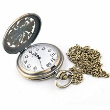 Vintage Steampunk Bronze Watch Quartz Pocket Pendant Necklace Long Chain Jewelry