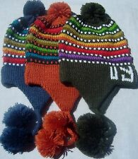 NEW, 100% ALPACA WOOL BEANIE, HAND WOVEN, HAT, CHULLO, EARFLAP, MULTICOLORED c