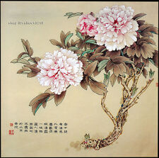 """Chinese natural mulberry silk thread,su hand embroidery kits:peony flower 14"""""""