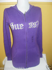 NWT GUESS ROYAL PURPLE ZIP FRONT SWEATER W/ RHINESTONES
