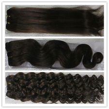 """Hot 15""""-36"""" Remy Human Hair Weft Extensions Straight Deep Wavy #4 Dark Brown"""