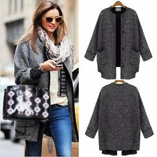 Women Wool Winter Warm Button Trench Long Coat Loose Jacket Black Parka Outwear