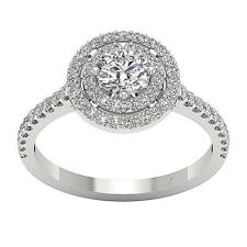SI1/G 1.20Ct Solitaire Natural Halo Diamond Anniversary Ring Band 14K White Gold