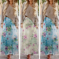 WOMENS LONG GYPSY CHIFFON FLORAL LONG SUMMER LADIES MAXI SKIRT DRESS PLUS SIZE