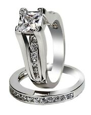 Womens Wedding Rings Stainless Steel Princess Cut cz Engagement Ring Size 5 -11