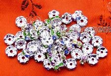 SALE Wholesale 20X Rhinestone multicolor silver plated Spacer Beads 8mm-GP111