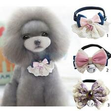 Cute Detachable Pet Dog Puppy Collar Necklet with Bell Lace Bowknot Decor