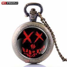 Vintage Suicide Squad Antique Pendant Necklace Pocket Watch Quartz Chain Gift