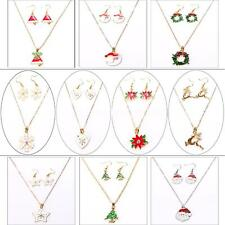 Gold Chain Snowflake Flower Christmas Theme Pendant Necklace With Earrings T8D9