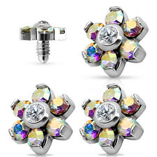 3 Pc 14G 5mm Prong Set CZ Flower Surgical Steel Micro Dermal Anchor Top