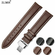 Mens Womens Black Brown Soft Genuine Leather Watch Band Hand Stitched Strap Belt