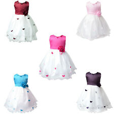 Girls Formal Party Wedding Dresses Princess Prom Butterfly Graduation Gown 3-8Y